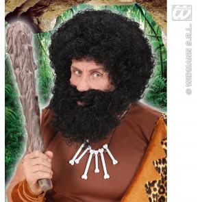 pruik, karakter met krullen en baard, zwart