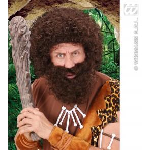pruik, karakter met krullen en baard, bruin