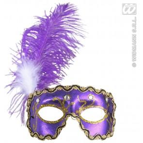 oogmasker, paars met 4 diamanten en veren