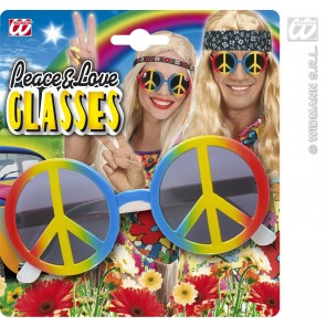 Hippie bril, love and peace multi kleuren