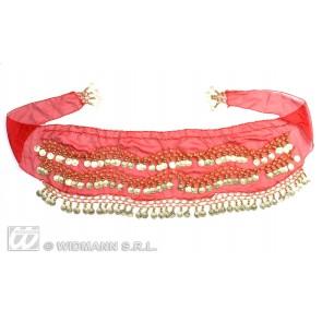 ceintuur buikdanseres rood met gouden muntjes