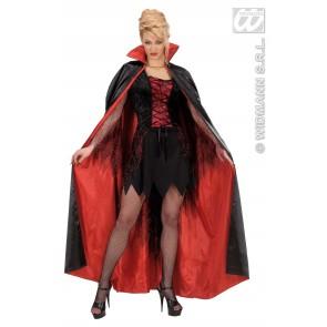 satijnen cape zwart/rood 158cm
