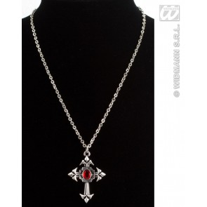 gothic ketting met rode steen