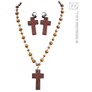 rosenkrans met oorringen kruis