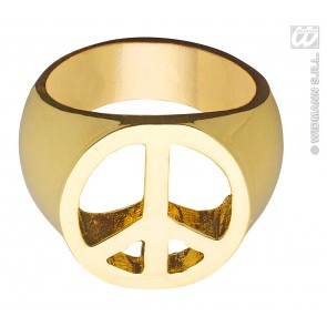peace and love ring goud hippie style