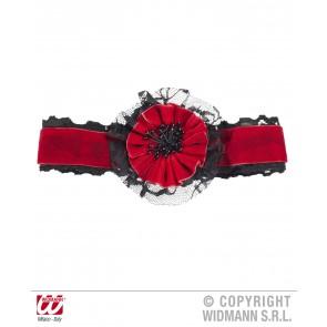 nekband fluweel rood met bloem