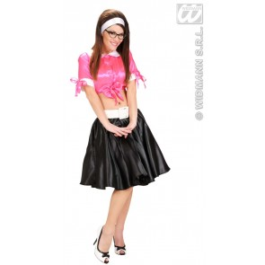 satijnen rokje met petticoat, zwart