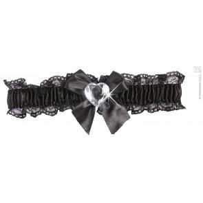 kousenband zwart met diamanten hartje