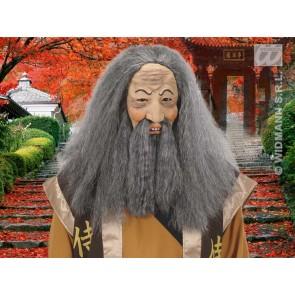 masker confusius met pruik, snor en baard