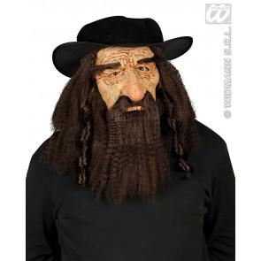 masker rabbijn met snor, haar en hoed