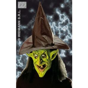 heksenmasker met muts en haar