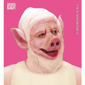 masker varken met kap van pluche