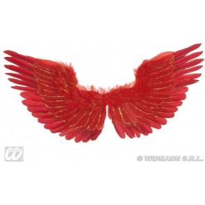 vleugels rood met zilver glitter 86x42cm