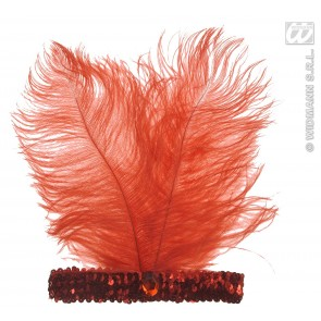 hoofdband rood met marabou en edelsteen