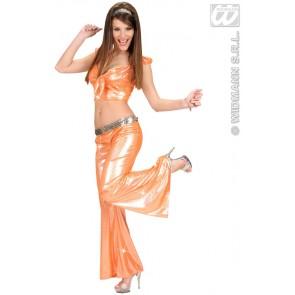 holografische broek dames, oranje