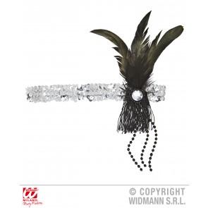 hoofdband pailletten zilver met veren en parels