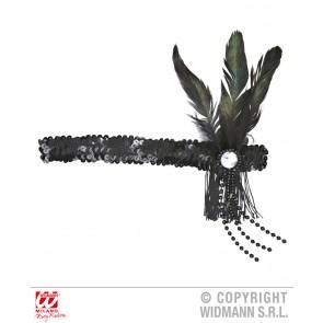 hoofdband pailletten zwart met veren en parels