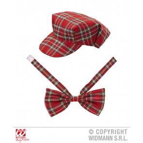 tartan hoedje rood met strik