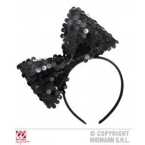 hoofdband met paillettenstrik zwart