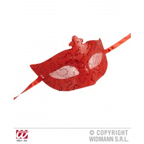 oogmasker, rood met pailletten en tule