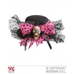 mini hoge hoed schedel met strik