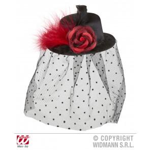 mini hoge hoed zwart met roos