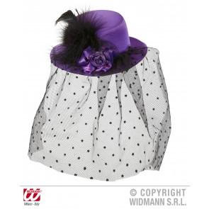 mini hoge hoed paars met roos