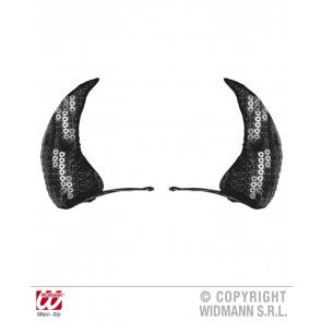 haarclips zwarte pailletten hoorntjes