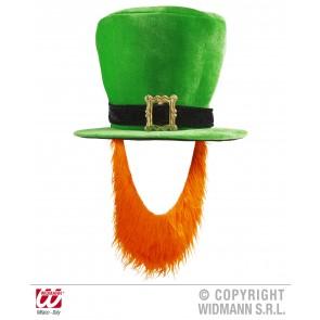 hoge hoed fluweel groen met rode baard
