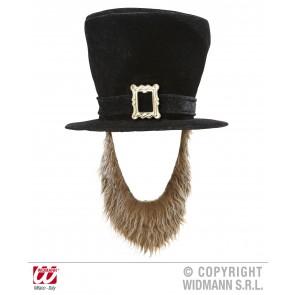 hoge hoed fluweel zwart met bruine baard