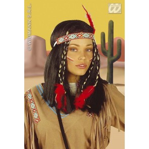 pruik, indiaanse cheyenne (in plastic doos)
