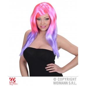 pruik, meerkleurig Roze/paars
