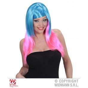 pruik, meerkleurig blauw/Roze