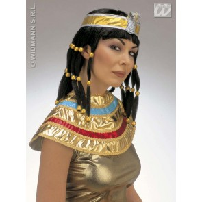 pruik, cleopatra (in plastic doos)