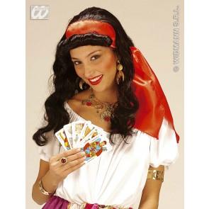 pruik, zigeunerin met hoofdband (in plastic doos)