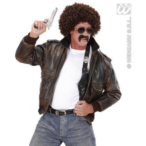 pruik, undercover agent bruine krul met snor en bril