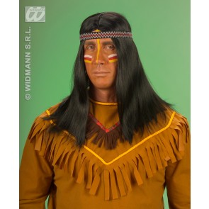 pruik, indiaan met hoofdband, in doos