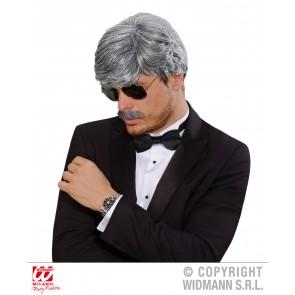 pruik droomhaar, playboy met snor grijs