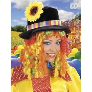 pruik, clownshoed met bloem en lokken