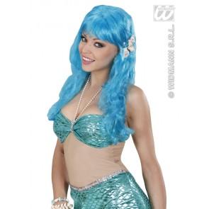 pruik, zeemeermin blauw met schelpen