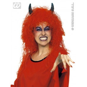 pruik, duivel (in plastic doos)