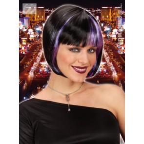 pruik, zoey zwart met paarse highlights