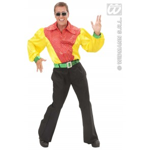 Item:Shirt Pailletten Satijn 3-kleuren Met Riem Man