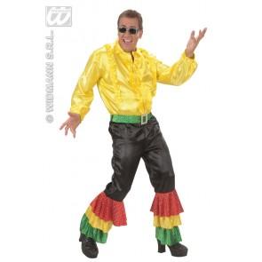 Item:Zwarte Broek Fluweel Met 3 Kleuren  Pailetten Man