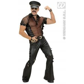 Item:Zwarte Lederlook Broek Met Sluitingen Man